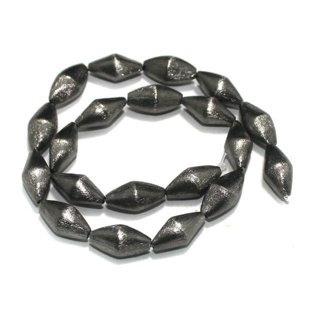 20 Pcs German SIlver Dholki Beads Black, Size 20x10 mm
