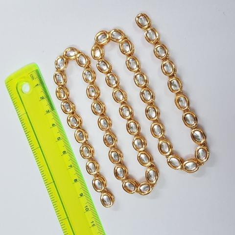 Kundan Stone Oval Chain, 10x7mm, 50pcs