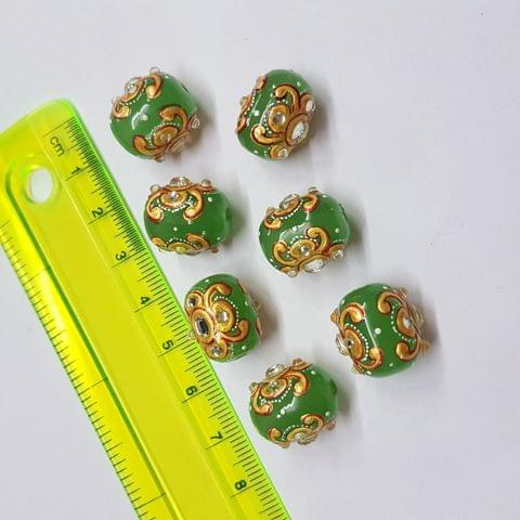 Green Handpainted High quality Spacer beads, 12x15mm, 5pcs