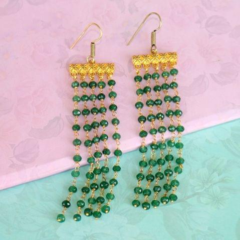 Floral Tassels Gemstone Earrings