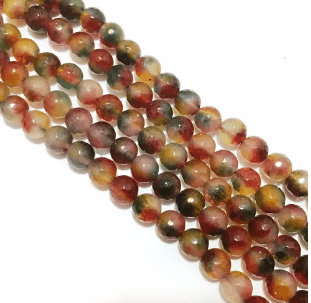 Agate Beads Multi Shaded Color Round Faceted Size 8MM, 2 Strings