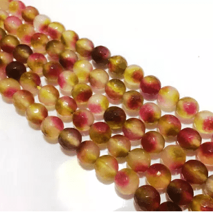 Agate Beads Yellow Pink Color Round Faceted Size 8MM, 2 Strings
