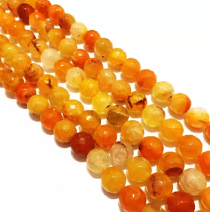 Agate Beads Orange Color Round Faceted Size 8MM, 2 Strings