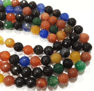 Agate Beads Multi Color Round Faceted Size 8MM, 2 Strings
