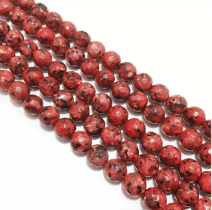 Agate Beads Red Turquoise Color Round Faceted Size 8MM, 2 Strings