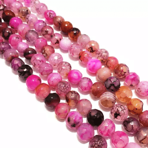 Agate Beads Pink Color Round Faceted Size 8MM, 2 Strings