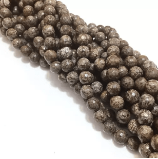 Agate Beads Brown Color Round Faceted Size 8MM, 2 Strings
