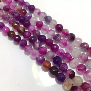 Agate Beads Pink Multi Color Round Faceted Size 8MM, 2 Strings