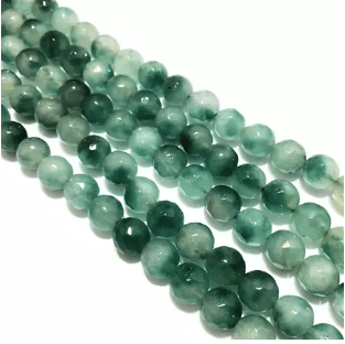 Agate Beads Green Shaded Color Round Faceted Size 8MM, 2 Strings