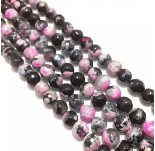 Agate Beads Pink Shaded Color Round Faceted Size 8MM, 2 Strings