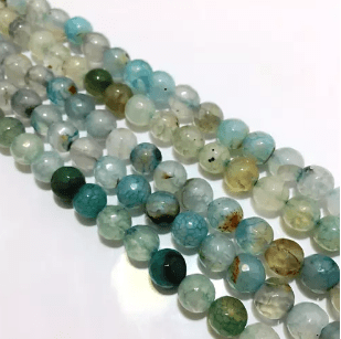 Agate Beads Sky Blue Shaded Color Round Faceted Size 8MM, 5 Strings