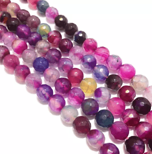 Agate Beads Purple Multi Color Round Faceted Size 8MM, 2 Strings