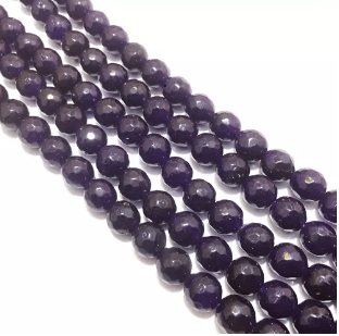 Agate Beads Dark Amethyst (Purple) Color Round Faceted Size 8MM, 2 Strings