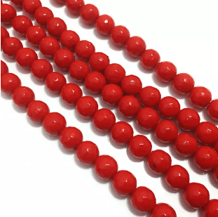 Opeq Red Agete Beads 8MM 2 String