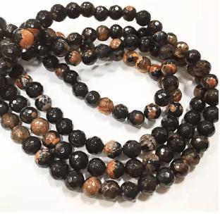 Black Orange Agete Beads 8mm 2 String