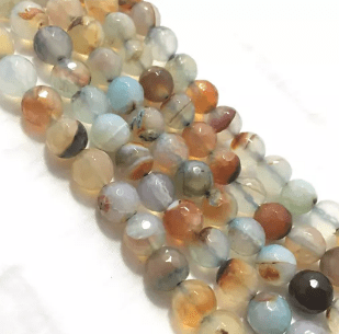 Blue Shaded Agete Beads 8mm 2 String