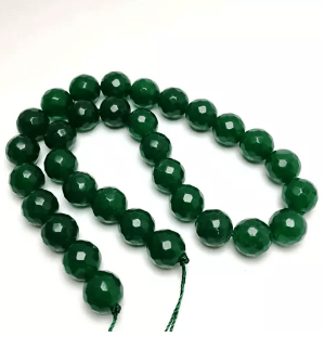 Agate Beads Green Onex Color Round Faceted Size 12MM, 2 Strings