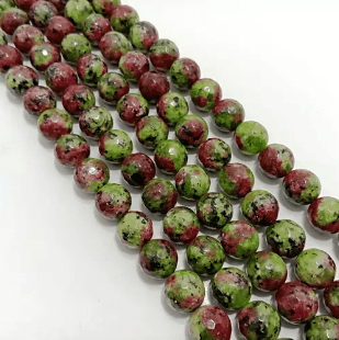 Agate Beads Green Turquoise Color Round Faceted Size 12MM, 2 Strings