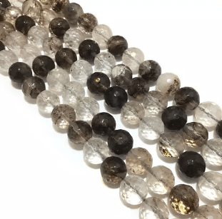 Agate Beads Smoke Topaz Color Round Faceted Size 12MM, 2 Strings