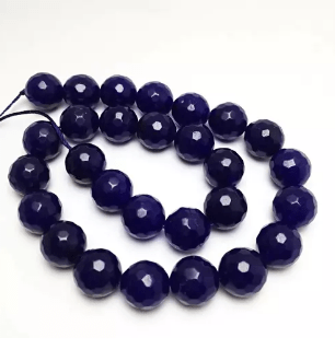 Agate Beads Dark Blue Color Round Faceted Size 12MM, 2 Strings