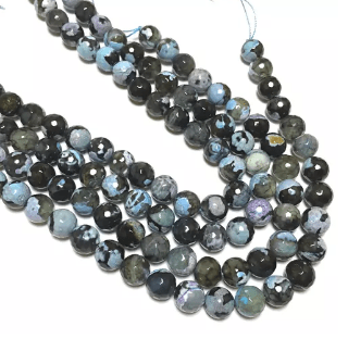 Blue Shaded Agete Beads 12MM 2 String