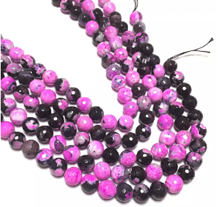 Pink Shaded Agete Beads 12MM 2 String