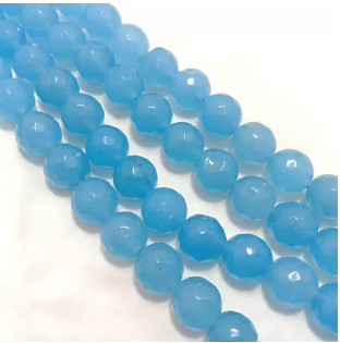 Aqua Blue Agete Beads 12MM 2 String