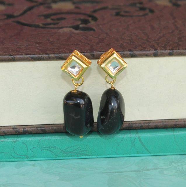 Black Kundan Onyx Stone Earring