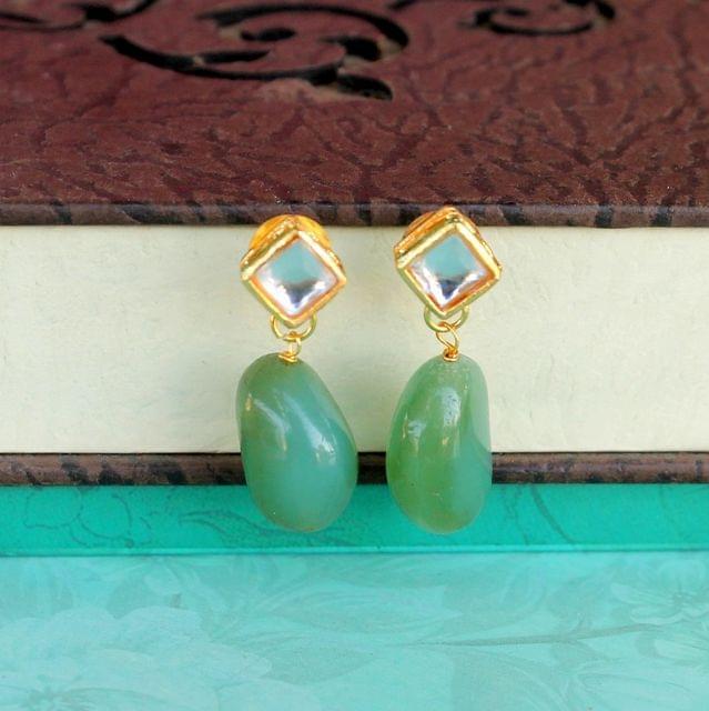 Green Kundan Onyx Stone Earring