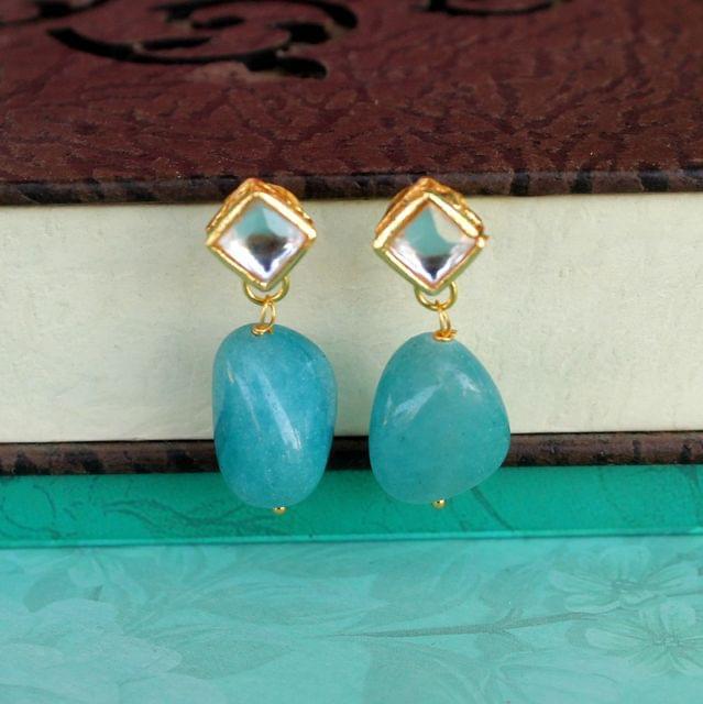 Turquoise Kundan Onyx Stone Earring