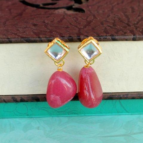 Red Kundan Onyx Stone Earring