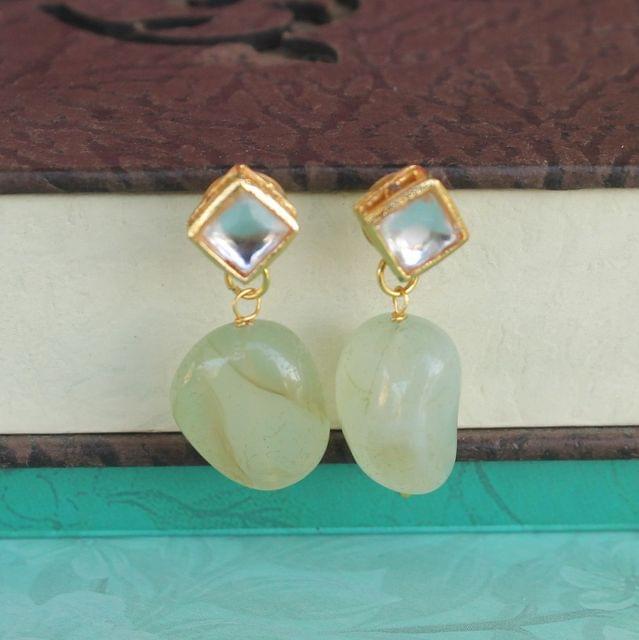 Sea Green Kundan Onyx Stone Earring