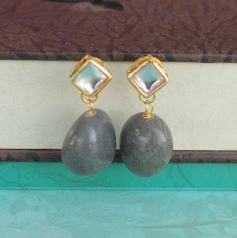 Grey Kundan Onyx Stone Earring
