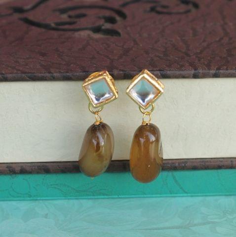Topaz Kundan Onyx Stone Earring