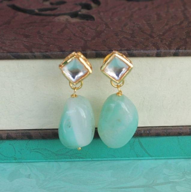Sea Green Kundan Onyx Stone Earring