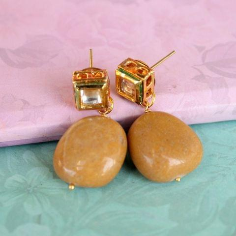 Yellow Kundan Onyx Stone Earring