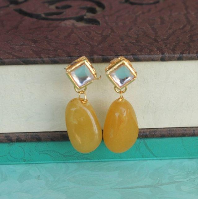 Yellow Kundan Onyx Stone Earring