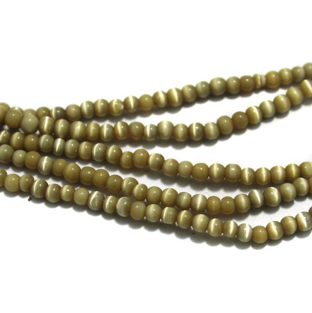 5 Strings Cat's Eye Round Beads Golden 4 mm