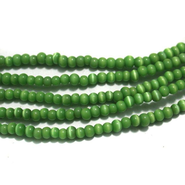 5 Strings Cat's Eye Round Beads Green 4 mm