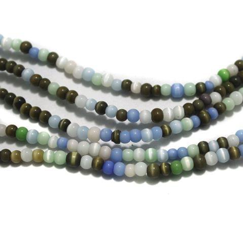 5 Strings Cat's Eye Round Beads Multi 4 mm