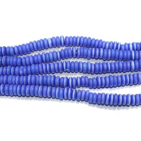 5 Strings Cat's Eye Donut Beads Blue 6x3 mm