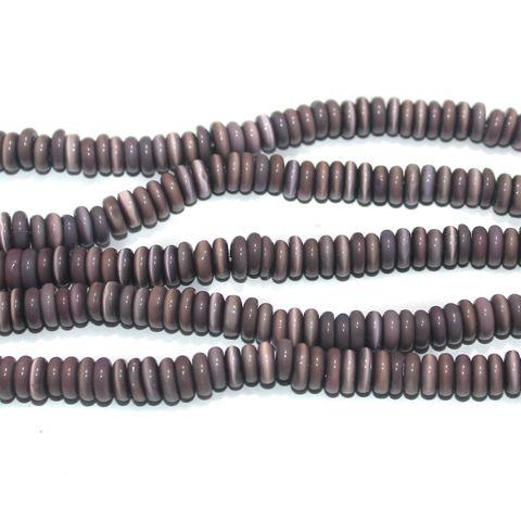 5 Strings Cat's Eye Donut Beads Purple 6x3 mm