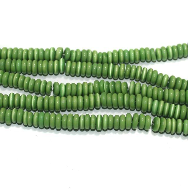 5 Strings Cat's Eye Donut Beads Green 6x3 mm