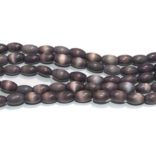 5 Strings Cat's Eye Oval Beads Purple 10x7 mm