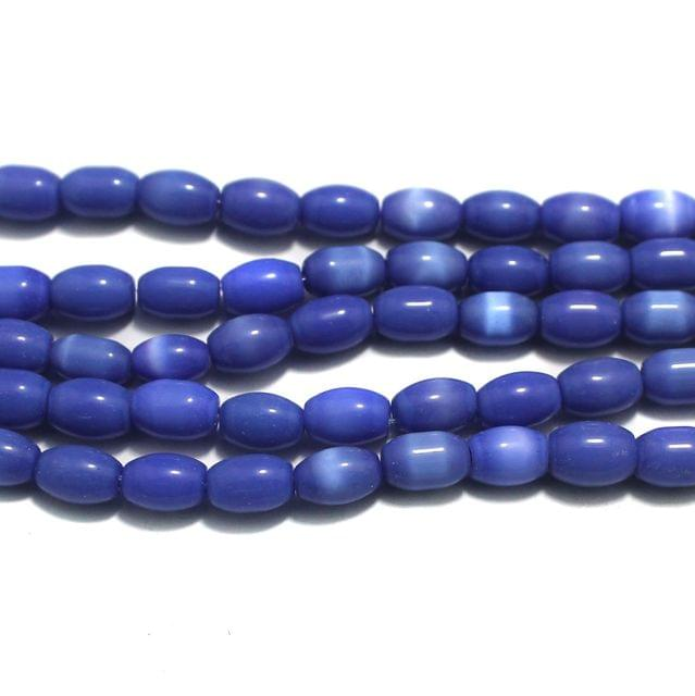 5 Strings Cat's Eye Oval Beads Blue 10x7 mm