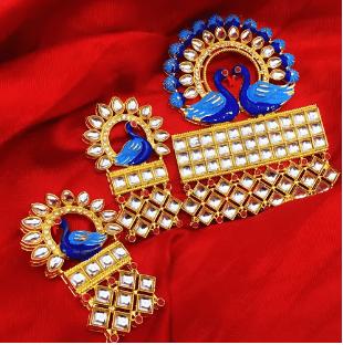 Blue Color Kundan Meenakari Pendant 1 Set With Earring