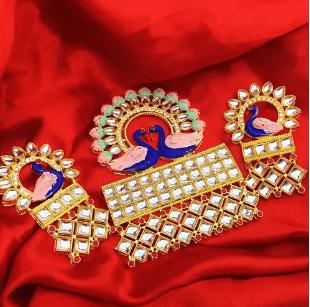 Pink Color Kundan Meenakari Pendant 1 Set With Earring