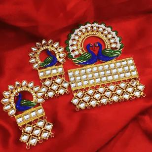 White Color Kundan Meenakari Pendant 1 Set With Earring