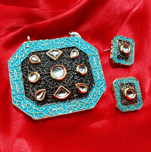 Sky Blue Color High Quality Kundan Pendant With Meenakari Work