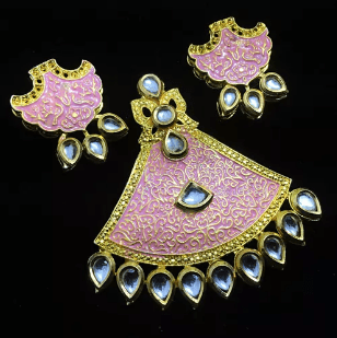 Pink Color High Quality Kundan Pendant With Meenakari Work